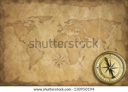 adventure and exploration vintage background - stock photo