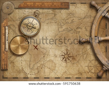 adventure and explore concept still life with old nautical world map 3d illustration (map elements are furnished by NASA)