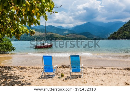 Adventure at tropical island Rio do Janeiro Brazil. Sailing and Sunbathing. Incredible view. South America.  - stock photo