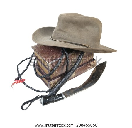 Adventure Books Aussie Hat Whip Dagger - path included - stock photo
