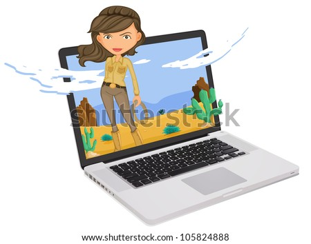 Adventure girl coming out of a computer screen