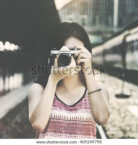 Adventure Hangout Traveling Holiday Photography Concept - stock photo
