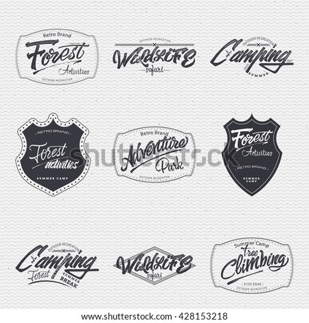 Vintage labels set portland oregon usa stock vector Difference between calligraphy and typography