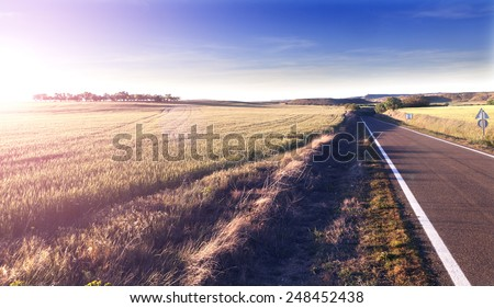 Adventures and road trips.Sunset and travel concept.Road and fields - stock photo