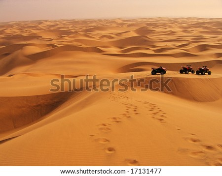 Adventures in the Namibian Sand Dunes - stock photo