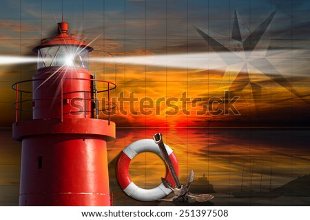 Adventurous Journeys Background. Red metallic lighthouse with light beam at sunset with clouds, lifebuoy, compass rose, rusty anchor and sailing ship. Concept of adventurous Journeys - stock photo