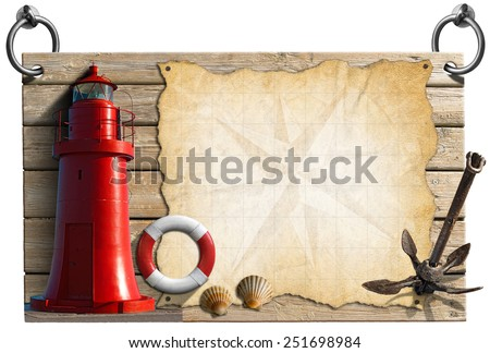 Adventurous Journeys Signboard. Wooden signboard with compass rose on a parchment, seashells, old anchor, lifebuoy and red lighthouse. Concept of adventurous travels - stock photo