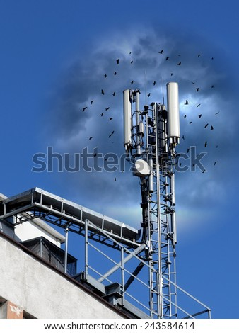 Adverse effects of radiofrequency radiation on birds. - conceptual. - stock photo