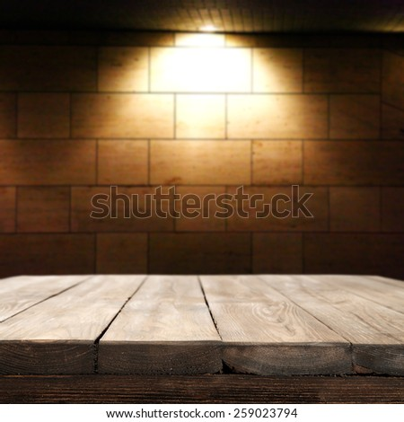 advertise background for you and table with wall and light of lamp  - stock photo