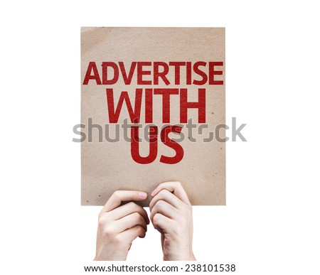 Advertise With Us card isolated on white background - stock photo
