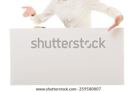 Advertisement. Female hands showing blank copy space banner isolated. Businesswoman recommending your product