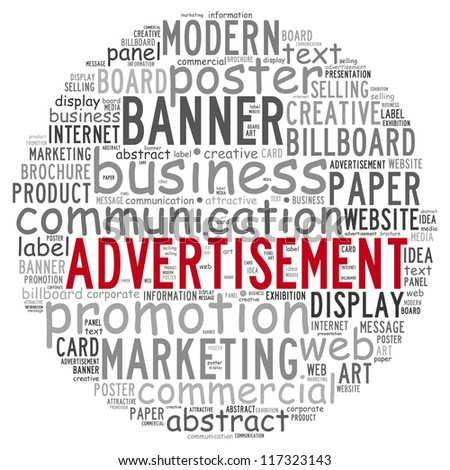 Advertisement info text concept in word cloud on white background