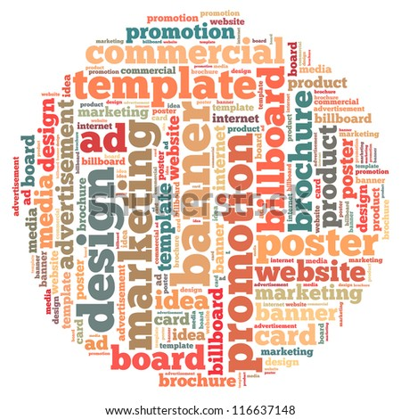 Advertisement info-text graphics and arrangement concept on white background (word cloud) - stock photo
