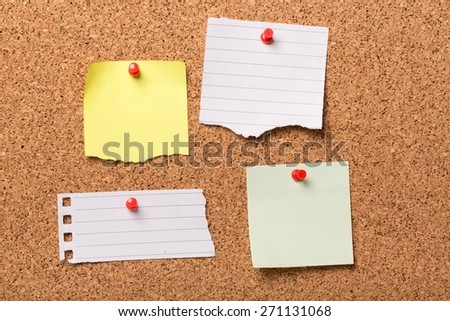Advertisement, note pad, bulletin board. - stock photo