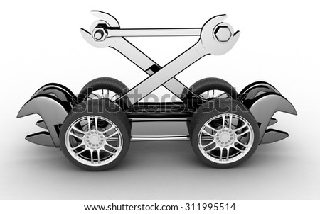 Advertisement of workshop for repair of cars. 3d render illustration - stock photo