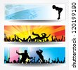 Advertising banners for sports championships and concerts. Raster version - stock photo