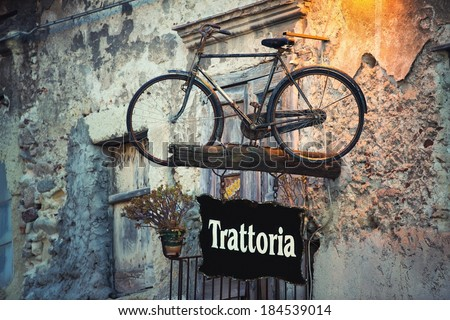 Advertising banners in Italian tavern - stock photo