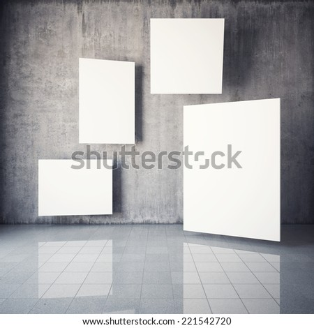 Advertising billboard in the interior with concrete walls. 3D illustration. - stock photo