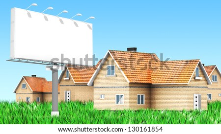 Advertising billboard with houses  for use in presentations, manuals, design, etc. - stock photo