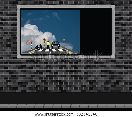 Advertising board on brick wall with children at a school crossing with copy space on advertising board for own text - stock photo