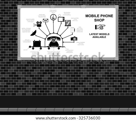 Advertising board on brick wall with comical mobile phone shop advert - stock photo