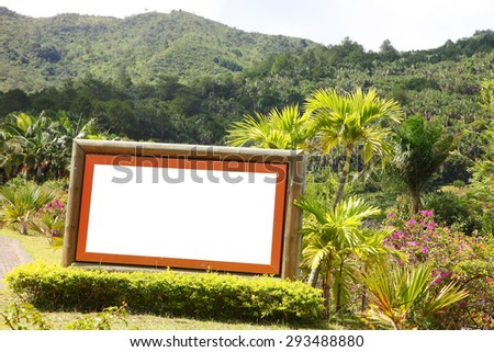 advertising board with mountain background - stock photo