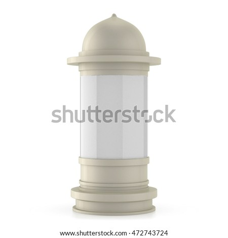 Advertising column isolated on white background. 3D illustration.