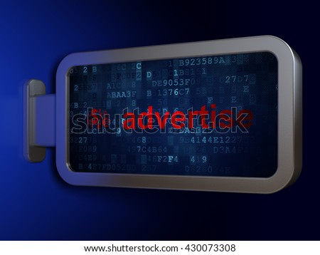 Advertising concept: Advertise and Finance Symbol on advertising billboard background, 3D rendering - stock photo