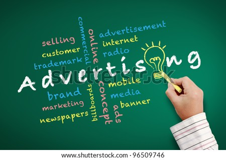Advertising concept and Bulb light idea with other related words. handwritten with chalk on a blackboard. - stock photo