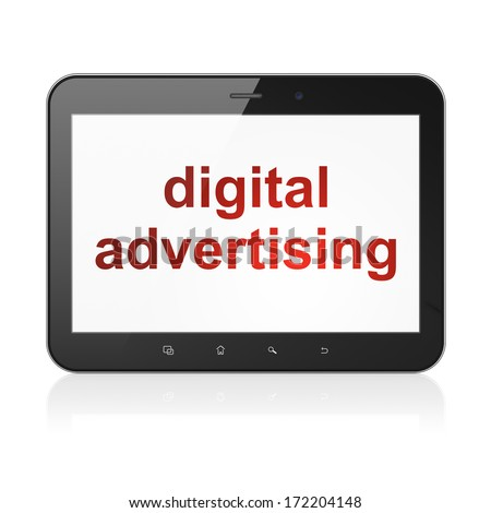 Advertising concept: black tablet pc computer with text Digital Advertising on display. Modern portable touch pad on White background, 3d render - stock photo