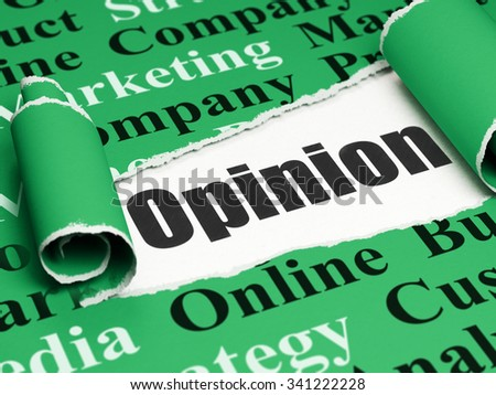 Advertising concept: black text Opinion under the curled piece of Green torn paper with  Tag Cloud - stock photo