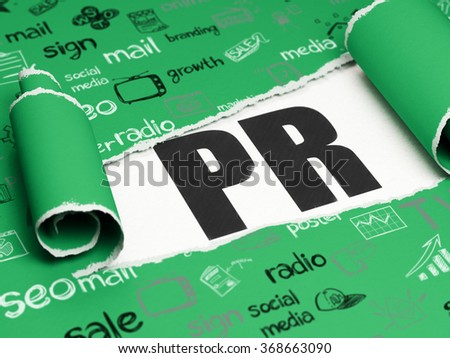 Advertising concept: black text PR under the piece of  torn paper - stock photo