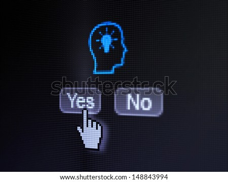 Advertising concept: buttons yes and no with pixelated Head With Lightbulb icon and Hand cursor on digital computer screen, selected focus 3d render - stock photo