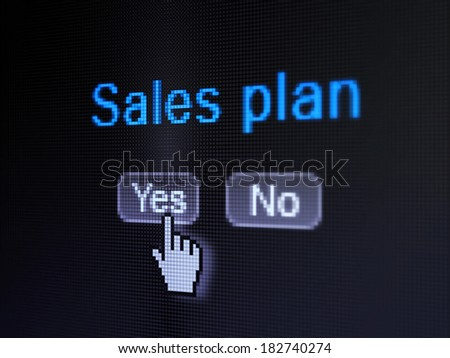 Advertising concept: buttons yes and no with pixelated word Sales Plan and Hand cursor on digital computer screen, selected focus 3d render - stock photo