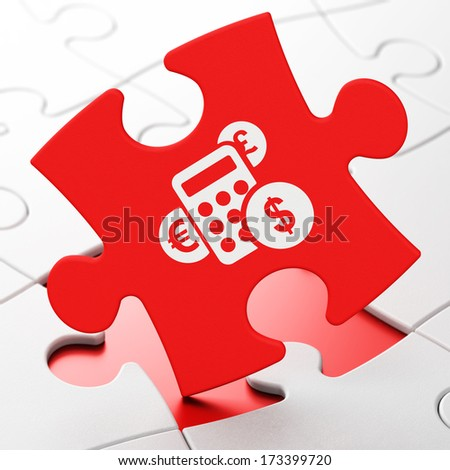 Advertising concept: Calculator on Red puzzle pieces background, 3d render - stock photo