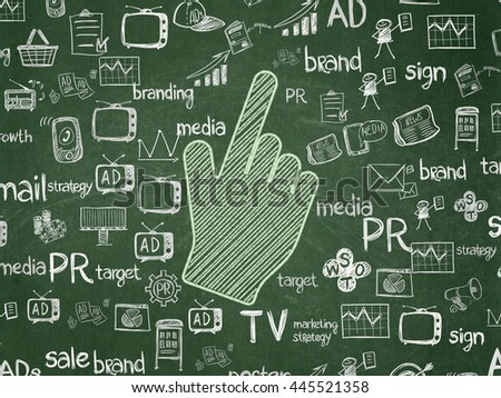 Advertising concept: Chalk Green Mouse Cursor icon on School board background with  Hand Drawn Marketing Icons, School Board - stock photo