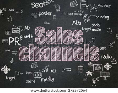 Advertising concept: Chalk Pink text Sales Channels on School Board background with Scheme Of Hand Drawn Marketing Icons, 3d render - stock photo