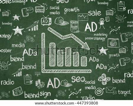 Advertising concept: Chalk White Decline Graph icon on School board background with  Hand Drawn Marketing Icons, School Board