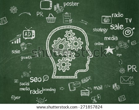 Advertising concept: Chalk White Head With Gears icon on School Board background with Scheme Of Hand Drawn Marketing Icons, 3d render