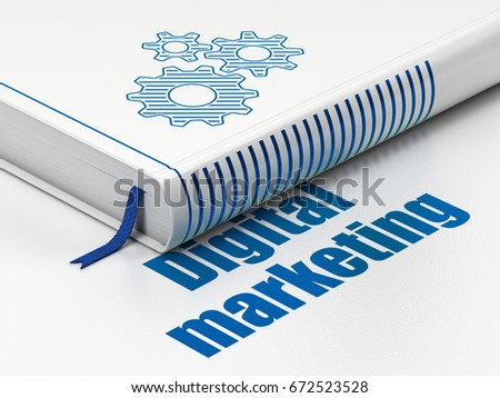 Advertising concept: closed book with Blue Gears icon and text Digital Marketing on floor, white background, 3D rendering