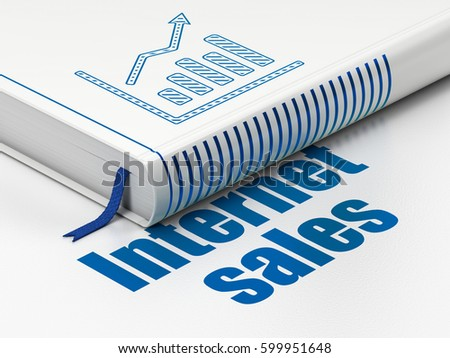 Advertising concept: closed book with Blue Growth Graph icon and text Internet Sales on floor, white background, 3D rendering