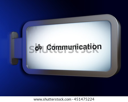 Advertising concept: Communication and Gears on advertising billboard background, 3D rendering - stock photo