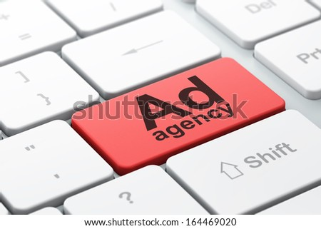 Advertising concept: computer keyboard with word Ad Agency, selected focus on enter button background, 3d render