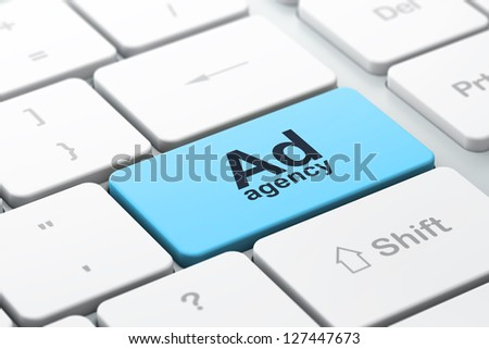 Advertising concept: computer keyboard with word Ad Agency, selected focus on enter button, 3d render