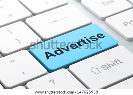 Advertising concept: computer keyboard with word Advertise, selected focus on enter button background, 3d render - stock photo