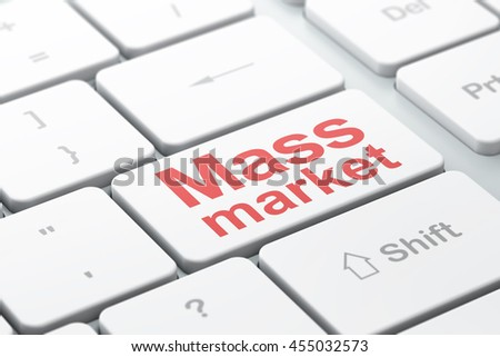 Advertising concept: computer keyboard with word Mass Market, selected focus on enter button background, 3D rendering