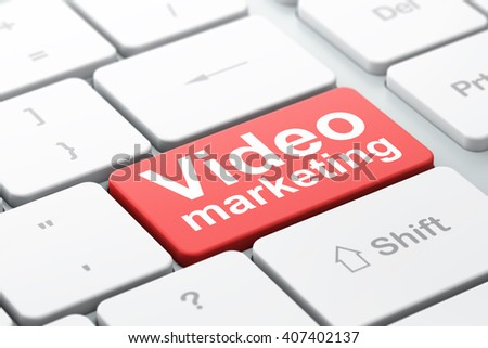 Advertising concept: computer keyboard with word Video Marketing, selected focus on enter button background, 3D rendering