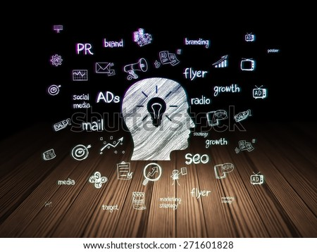 Advertising concept: Glowing Head With Light Bulb icon in grunge dark room with Wooden Floor, black background with  Hand Drawn Marketing Icons, 3d render - stock photo