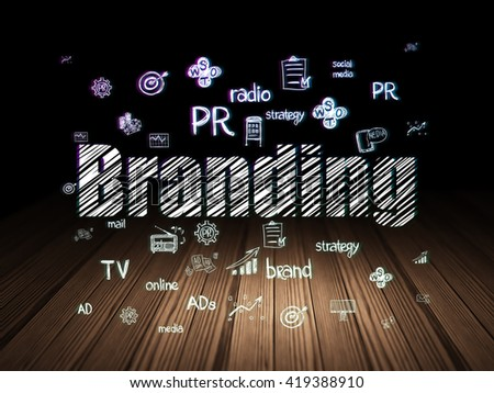 Advertising concept: Glowing text Branding,  Hand Drawn Marketing Icons in grunge dark room with Wooden Floor, black background - stock photo