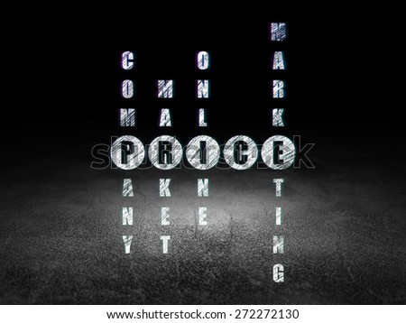 Advertising concept: Glowing word Price in solving Crossword Puzzle in grunge dark room with Dirty Floor, black background, 3d render - stock photo
